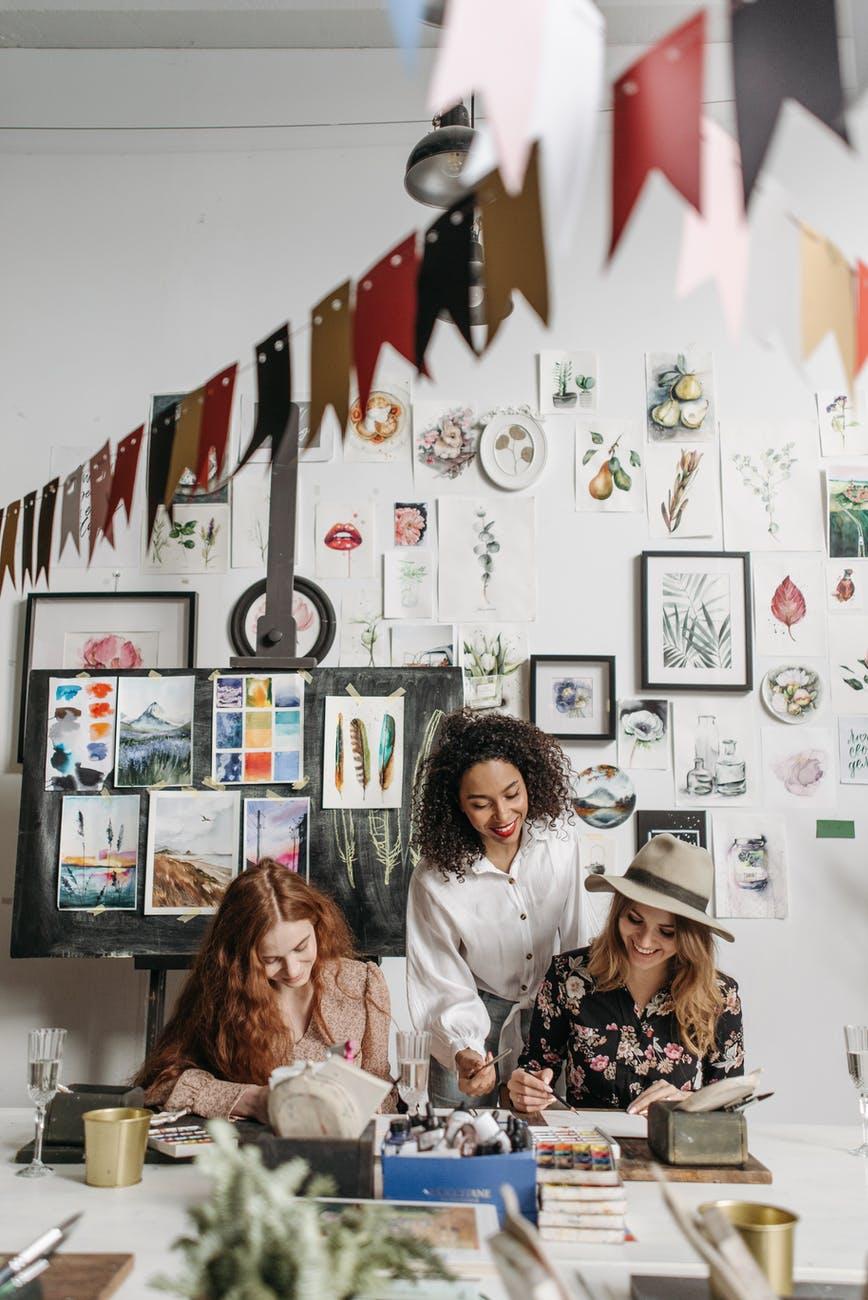women having painting class