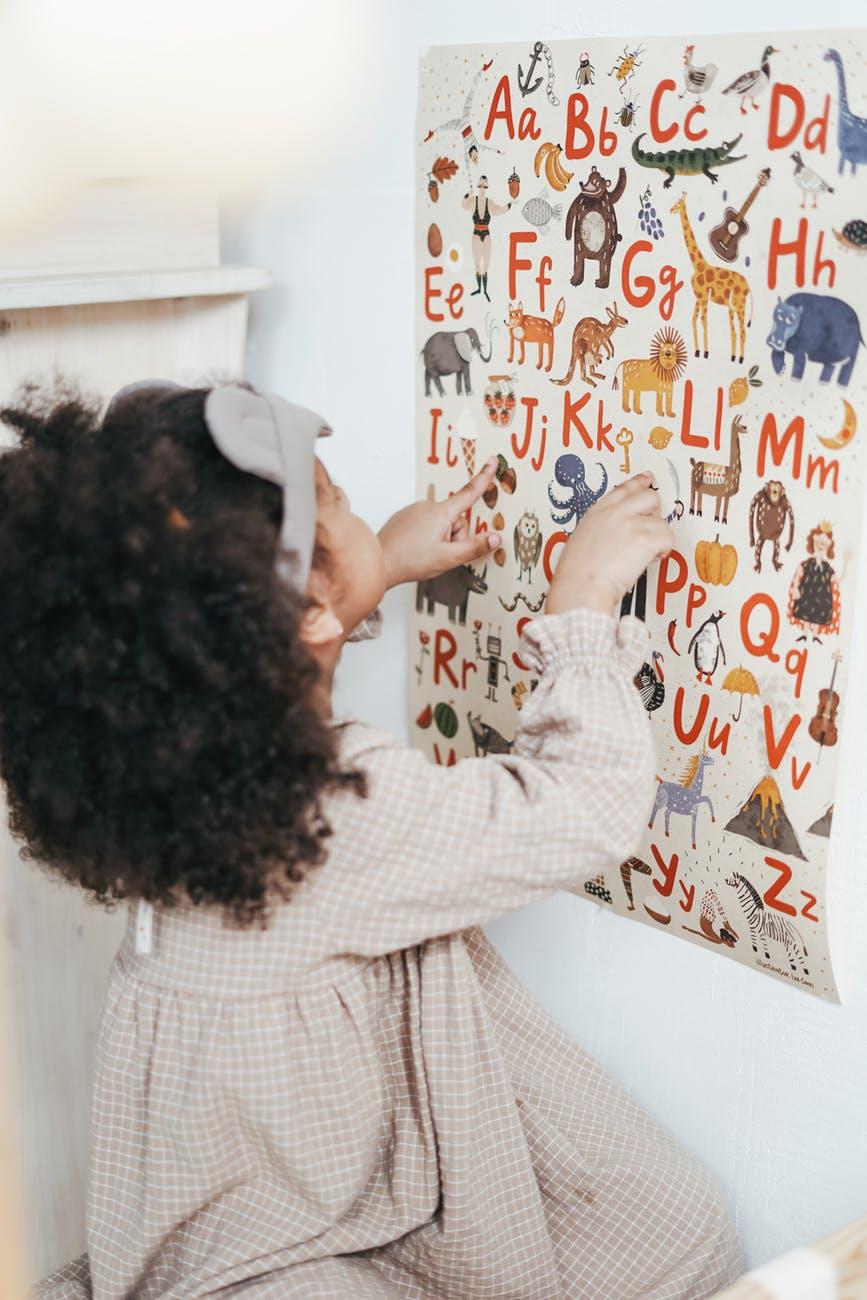 girl reading english alphabet