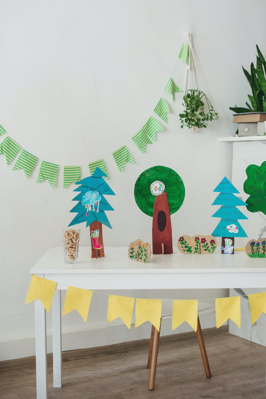 cozy light room with children party or game decoration